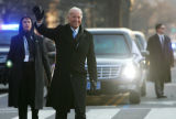 (0564) Vice-President Joe Biden waves to the crowd on the parade route after the Inauguration in...