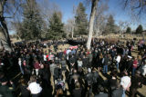 Justin Bauer (cq) lies in his casket during his gravesite service, Tuesday, January 20, 2009 at...