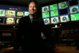 Doug Price, new president of Rocky Mountain PBS, in one of their control rooms in Denver,  On...