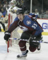 #55 Cody Mcleod hustles for the puck after  scoring in the 3rd  period as the Avalanche beat the...