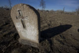 A stone weather and worn still stands at Riverside Cemetery in Denver, Colo. Thursday February 5,...