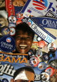 55-year-old Odessa Lazard poses for a portrait along with the dozens of Barak Obama memorabilia,...