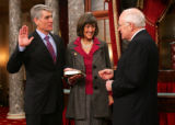 (0289) Newly-elected Colorado Senator Mark Udall is sworn in by Vice-President Dick Cheney at the...