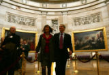 (0874) Newly-elected Colorado Senator Mark Udall, right, and his wife Maggie Fox, right, walk...