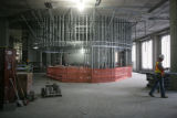 Construction continues on the grand staircase and rotunda inside the future detention center, a...