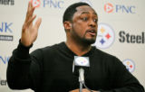 PAGP101 - Pittsburgh Steelers coach Mike Tomlin gestures during his weekly news conference in...