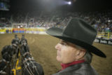 Scott Smith (cq) of Weatherford, Texas looks over his six horse hitch while riding at the National...