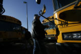 DM2782  Ted Shearer, 67, a bus driver with Jeffco Public Schools, boards his bus to take students...