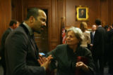 MJM2286 Stage and screen actor, Jeffrey Wright (cq), left, talks to Sen. Michael Bennet's mother,...