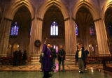 (0109) A tour group looks at the Washington National Cathedral in Washington DC, on Wednesday,...