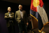 Michael Bennet and Gov. Ritter held a commuity forum at the Loveland Museum, in Loveland,...