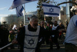 Marty Gale (cq) of the Isreali Celebration Dancers of Greeley dances during a rally in support of...
