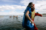 (0966) Meagan Kitt,left, and Sarah Echsner, right, come out of the water laughing at Boulder...