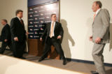 0475 A yothful Josh McDaniels prepares for a portrait with owner Pat Bowlen as he is introduced as...