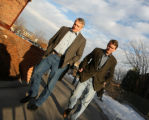 Photo by Dean Humphrey-- Govenor Bill Ritter and U.S. Senate designee Michael Bennet walk across...