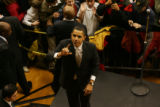 [1365] Barack Obama waves to supporters in the overflow room at a rally in Denver, Wednesday,...