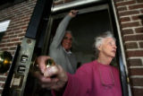 Fred and Virginia Gabriel (cq) opened their porch door to Dan Pabon (cq), a precinct Captain for...