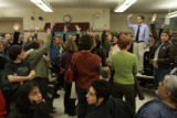 [0120] People crowded into the lunchroom at Horace Mann Middle School Tuesday, February 5, 2007,...