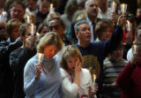 FRIDAY 8 FEBRUARY 2008 - Mourners Colette Brasier of Des Peres, at left, and Anne Dunajcik of...