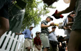 Annika Sorenstam signs autographs after playing eighteen holes of practice at the 2005 U.S....