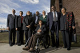 DM0858   LITTLE ROCK NINE+51568  Eight of the Little Rock Nine, from left, Terrence Roberts,...