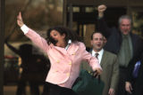 Laura Hagan (cq) , jumps for joy with her attorney Joe Lazzara (cq ) as they  walk out  of  Arvada...