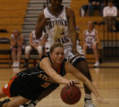 In Class 4A Girls BB first round Cherokee Trail's Kristina Howard Sterling's haley Beardsley dives...
