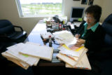 Jeannie Reeser (cq), Public Trustee for Adams County, processes foreclosures in the Public...