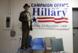 Antonio Amaro (cq), 88, stands on a chair inside the Hillary Clinton campaign office in Corpus...