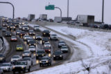 Northbound traffic (left) on I-25 near Broadway Thursday morning February 14,2008.  Mother Nature...