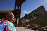 Barry Fey tears while on stage at Red Rocks on Tuesday, April 15, 2008 in Morrison, Colo. Going...