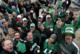 DM0062   North Dakota fans revel at Brooklyn's across the street from the Pepsi center before the...