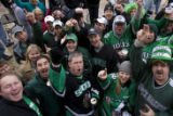 DM0070   North Dakota fans revel at Brooklyn's across the street from the Pepsi center before the...