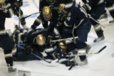 DM2538   The Notre Dame Fighting Irish pile on top of their teammate Calle Ridderwall after his...