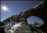 Photo by Bruce Hucko for Tracks  Winter Sun at North Window, Arches National Park