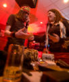 (Denver, Colo., March 23, 2008) Magic Cyclops sells some music and souvenirs to Cory Decker in the...