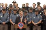 Gov. Bill Owens announces major DUI enforcement crackdowns for the Memorial Day weekend during a...