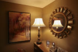 Lighting and art work cover the walls in the Ritz -Carlton Suite, Thursday morning, March 27,...