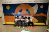 DM0602   Students from Escuela Bilingue Pioneer Elementary gather together to read...