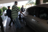 Denver Nuggets player Yakhouba Diawara gets into a cab outside the Ritz Carlton in Phoenix,...