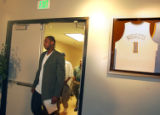 Carmelo Anthony walks to the podium before a press conference in the Elite Lounge at the Pepsi...