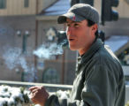 James Comstock (cq) lights up a smoke in the smoking patio at Ameristar Casino in Black Hawk...