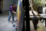 DM1312   Lady Pink, a world renowned graffiti artist from New York, works on a mural in a Denver...