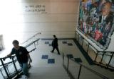 BG0120 Frank DeAngelis, Principal of Columbine High School heads down stairs to monitor students...