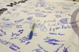 0144 Columbine High School students signed a banner for a collective show of suport to those...