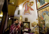 DM0046   Father Radovan Petrovic conducts the service for St. John the Baptist Serbian Orthodox...