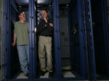 Tom Nats, Director of Hosting and Brandon Hieb Director of Operations (r-l) get inside their...