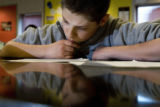 DM2438   Nathan Payne works on a short descriptive paragraph in Amy Campbell's eighth grade...