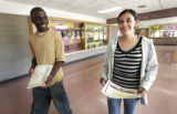 Winners of honor roll status are Eric Ndikumana (c) who is valedictorian and Norma Bonilla (cq) ...