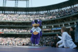 Rockies mascot Dinger performs during the seventh inning stretch of the Colorado Rockies home...